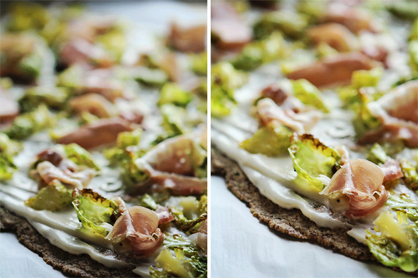 Post image for HERBED FLATBREAD W/ROASTED BRUSSEL SPROUTS, PROSCUITTO & MORNAY SAUCE