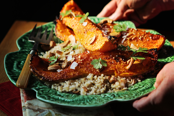 Post image for RED CURRY GLAZED BUTTERNUT SQUASH WITH COCONUT RICE