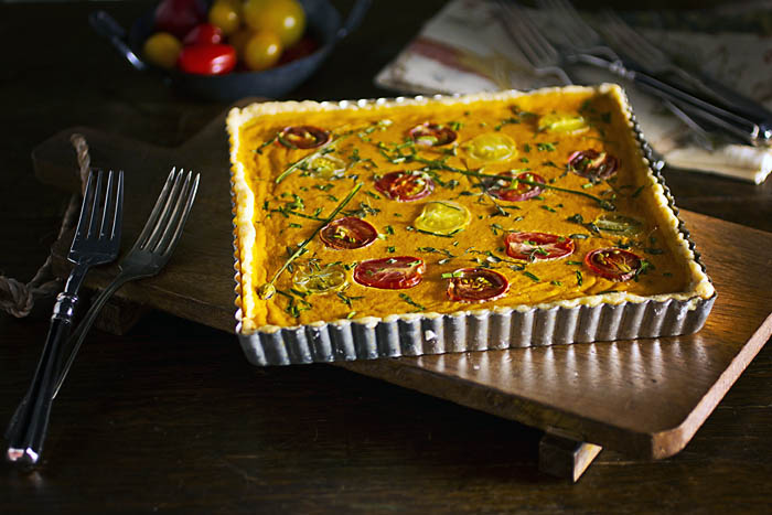Post image for GLUTEN-FREE HEIRLOOM TOMATO TART W/MASCARPONE CRUST