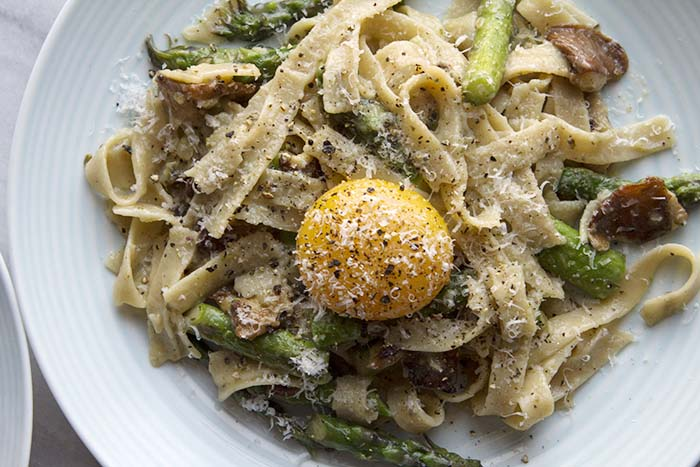 Post image for GLUTEN-FREE TAGLIATELLE WITH SHIITAKES AND ASPARAGUS